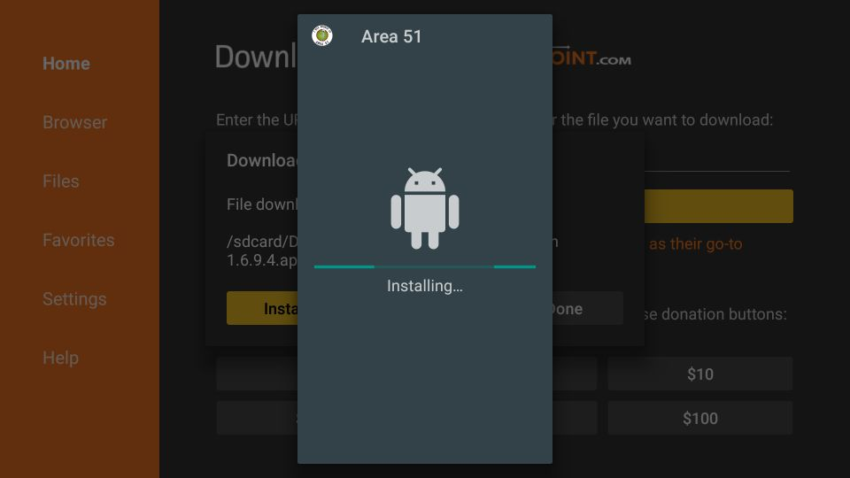 Steps to install area 51 on firestick