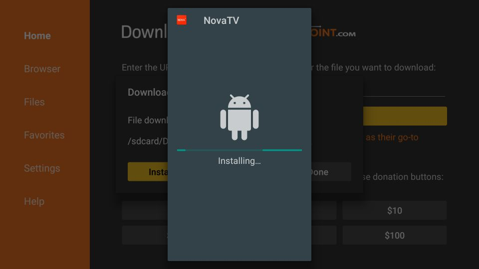 how to install nova tv apk on firestick