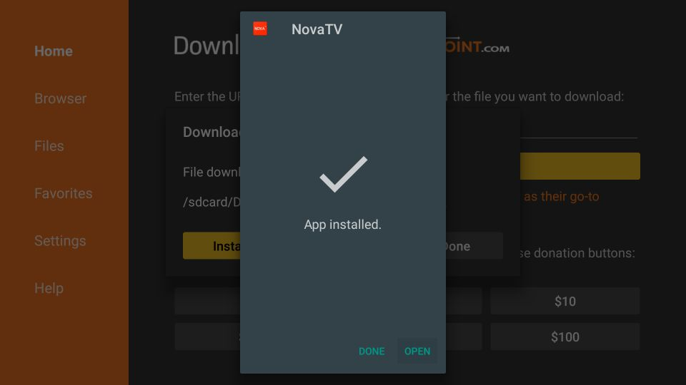 steps to install nova tv apk on firestick