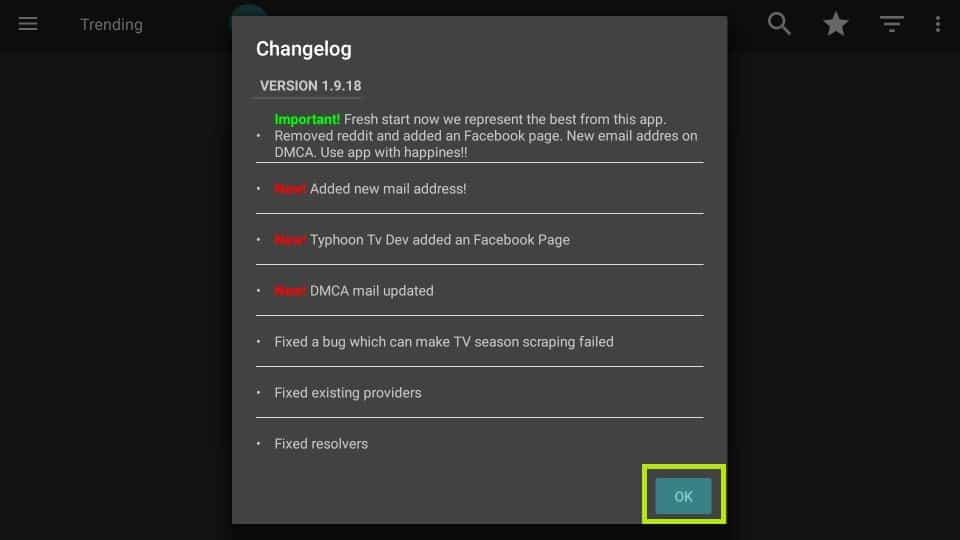 click OK on changelog