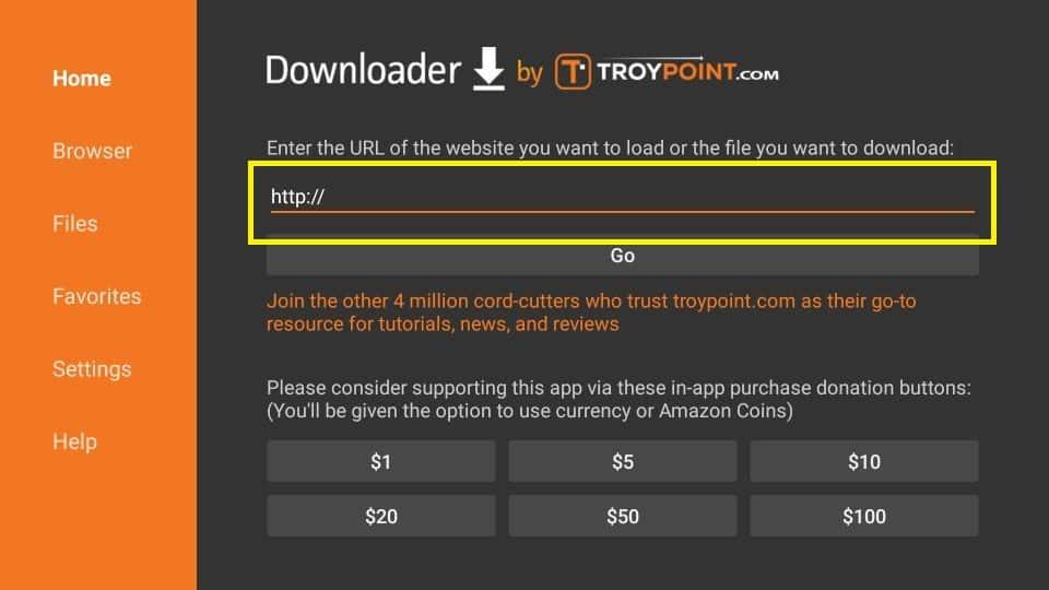 click the url bar