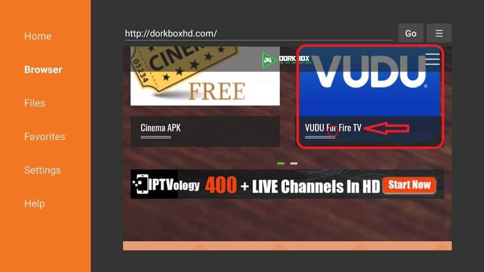 click on VUDU for Fire TV