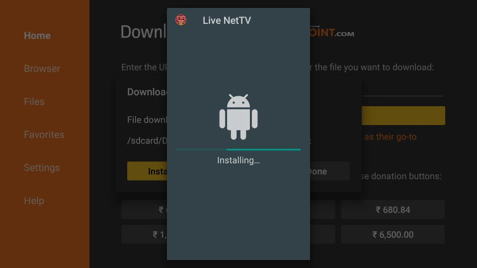 Wait for the Live NetTV app to install