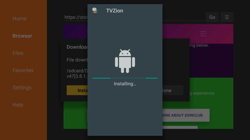 steps to install TVZion APK