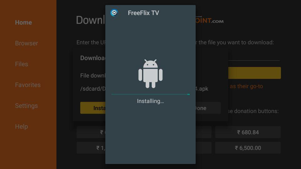 app installing window on the screen