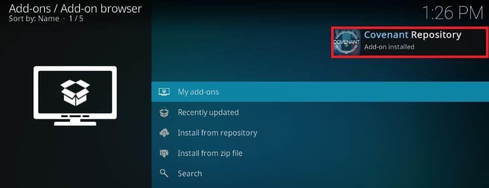 add-on installed
