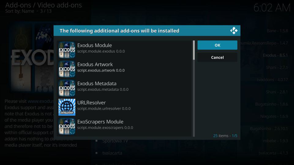 How to install Kodi exodus addon