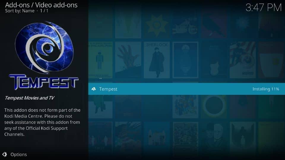install Tempest addon on Kodi
