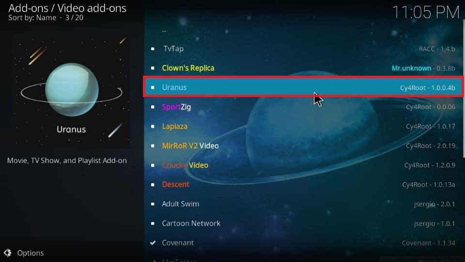 Click on Uranus