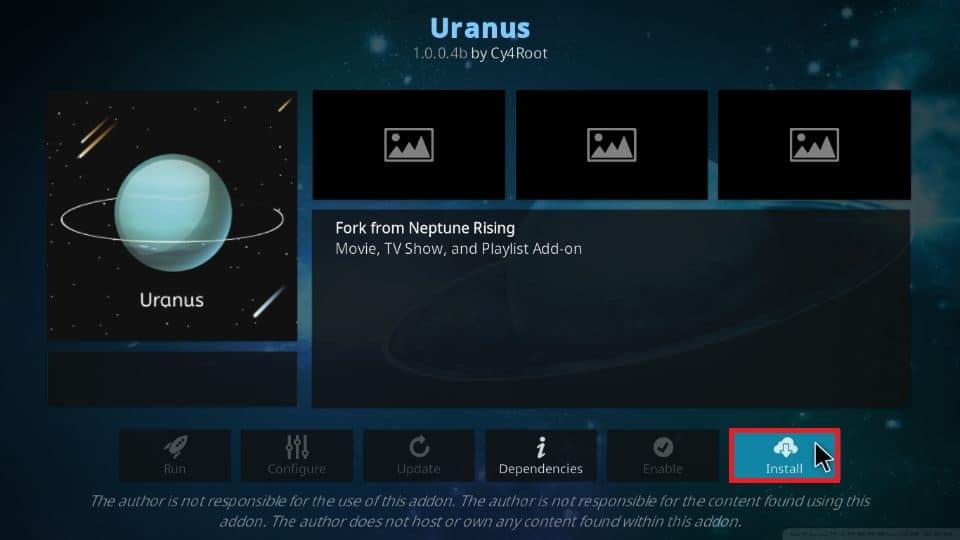 how to install Uranus addon on Kodi