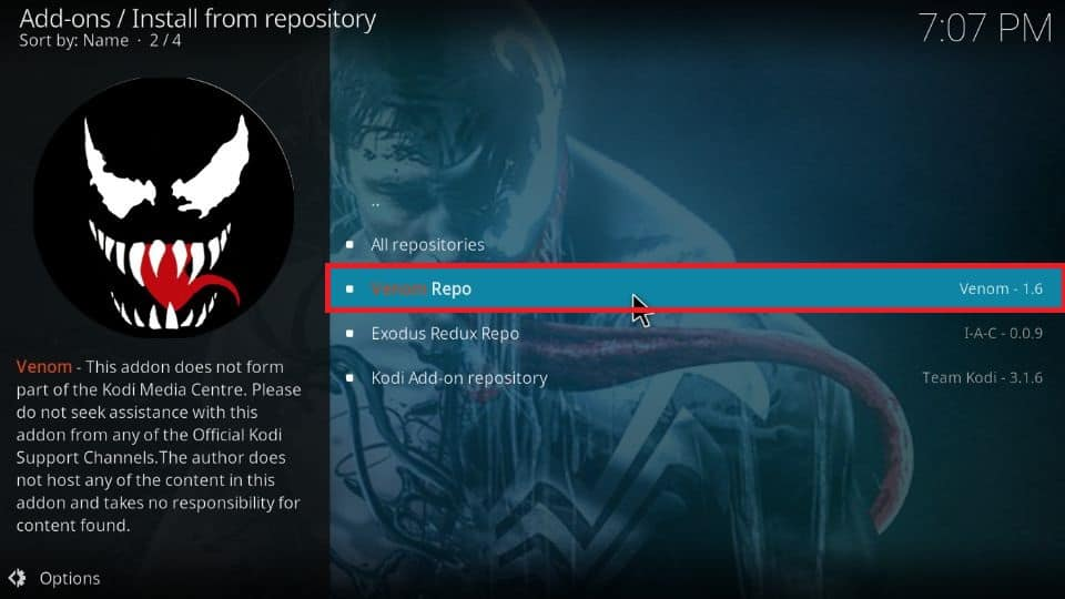 click on the Venom Repo