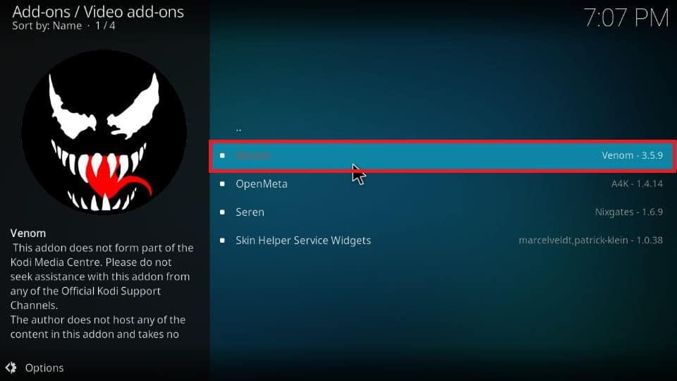 how to install Venom addon on Kodi 19 and Kodi 18