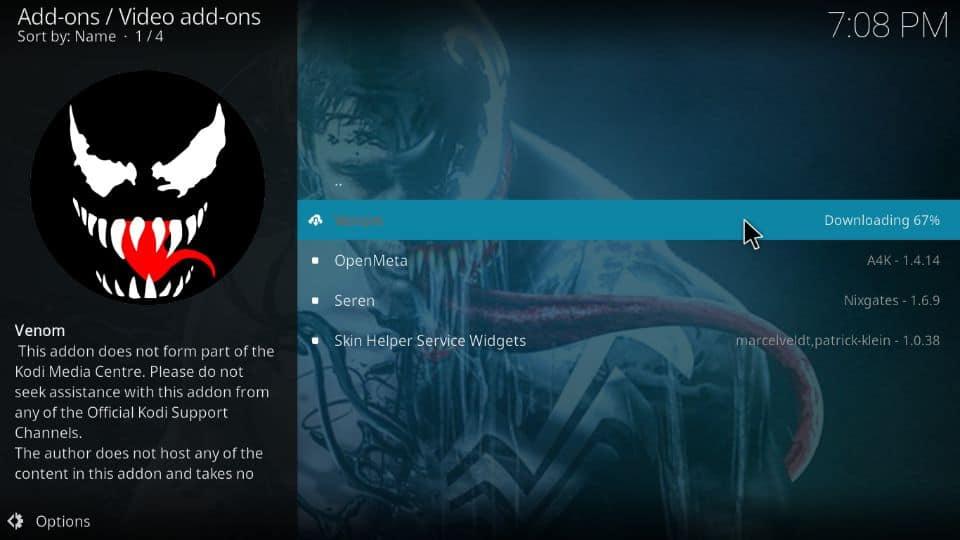 how to get Venom addon on Kodi 19 and Kodi 18