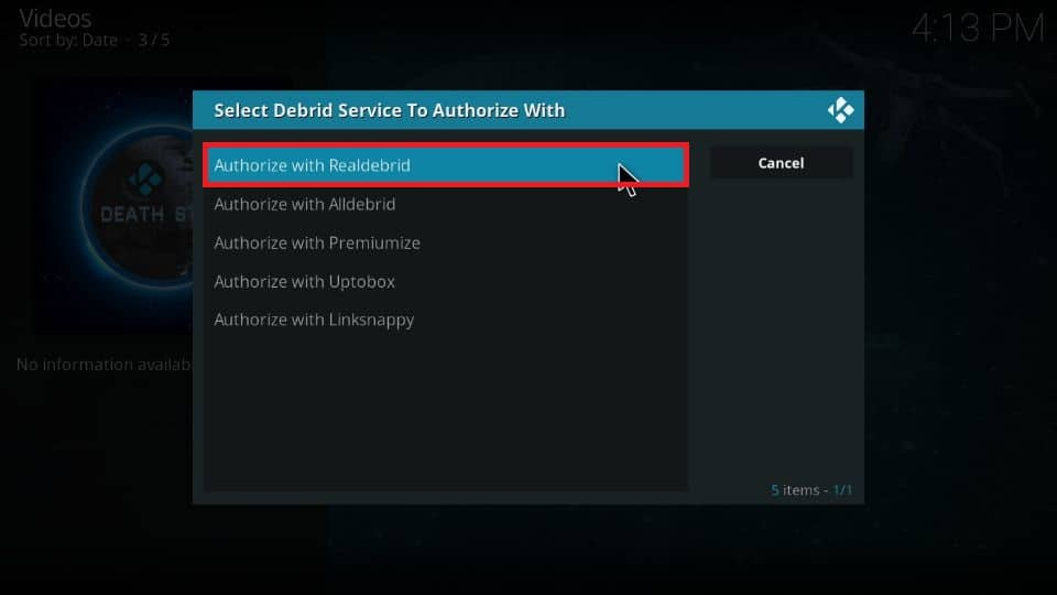 How to set up real debrid with DeathStar addon Kodi