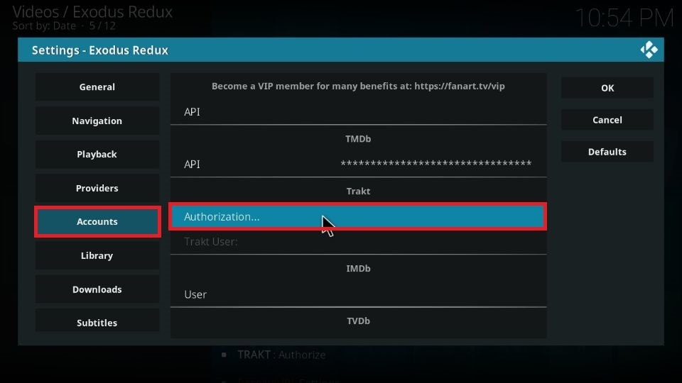 set up Trakt with Exodus Redux addon Kodi