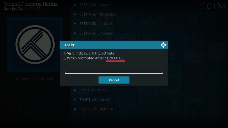 authorization code on your Kodi screen