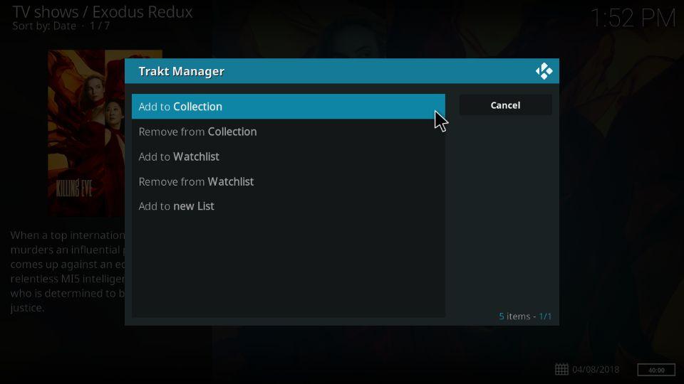 manage content via Trakt