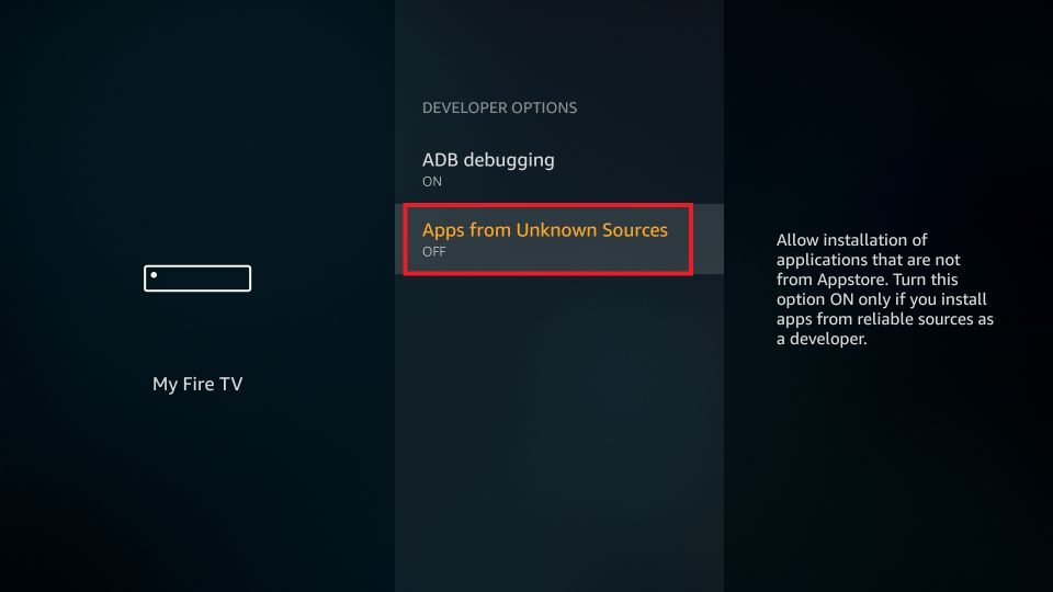 Click on Apps from Unknown Sources