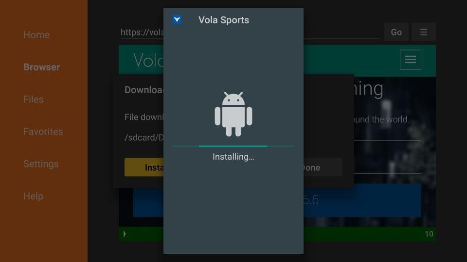 steps to install Vola Sports