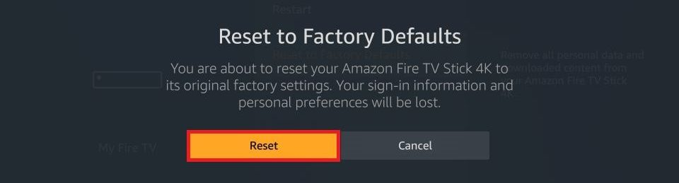 how to Fix Amazon Fire Stick not Working. Click Reset.