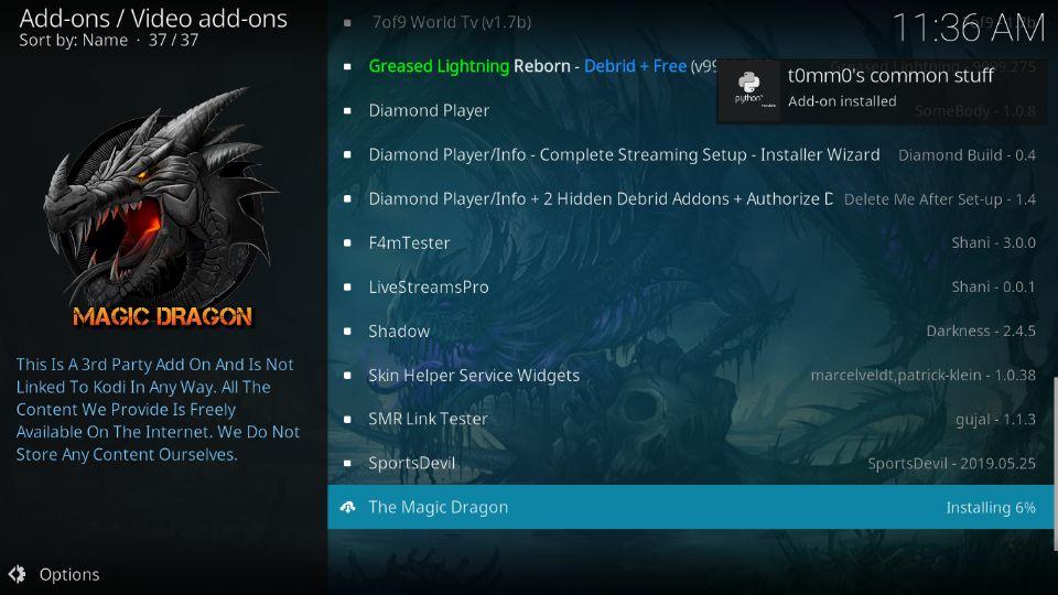 install The Magic Dragon addon on Kodi