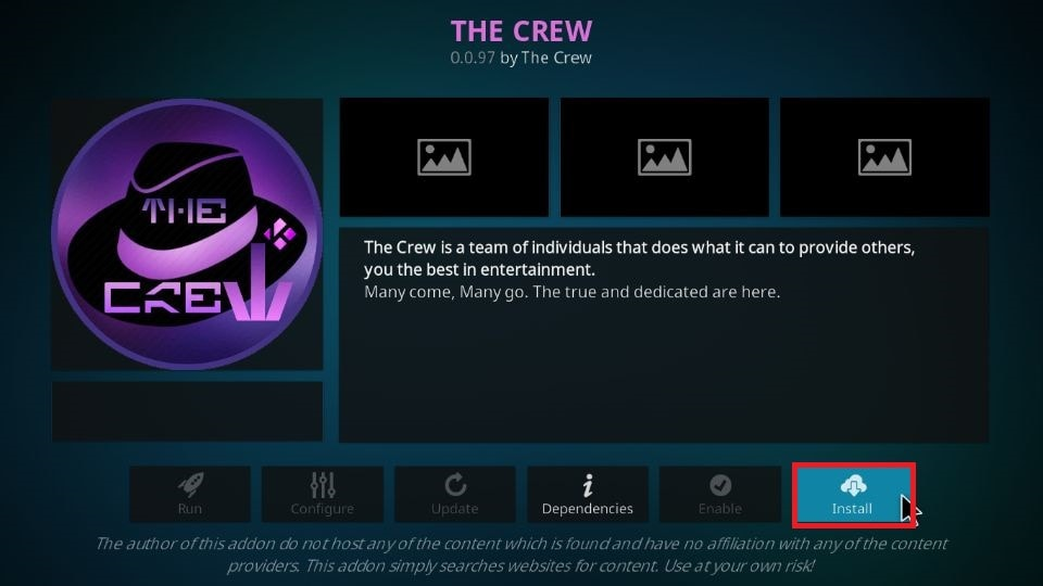 steps to install The Crew addon