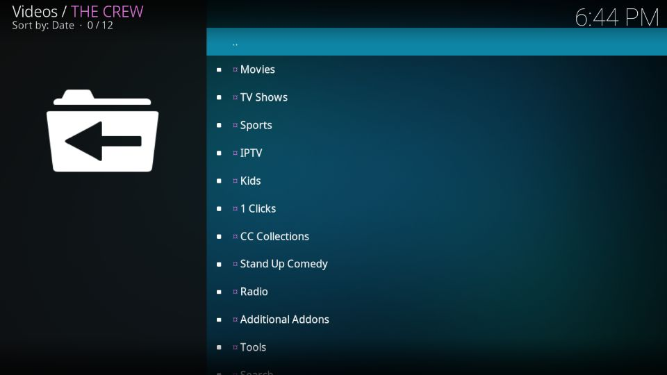 main screen of The Crew add-on
