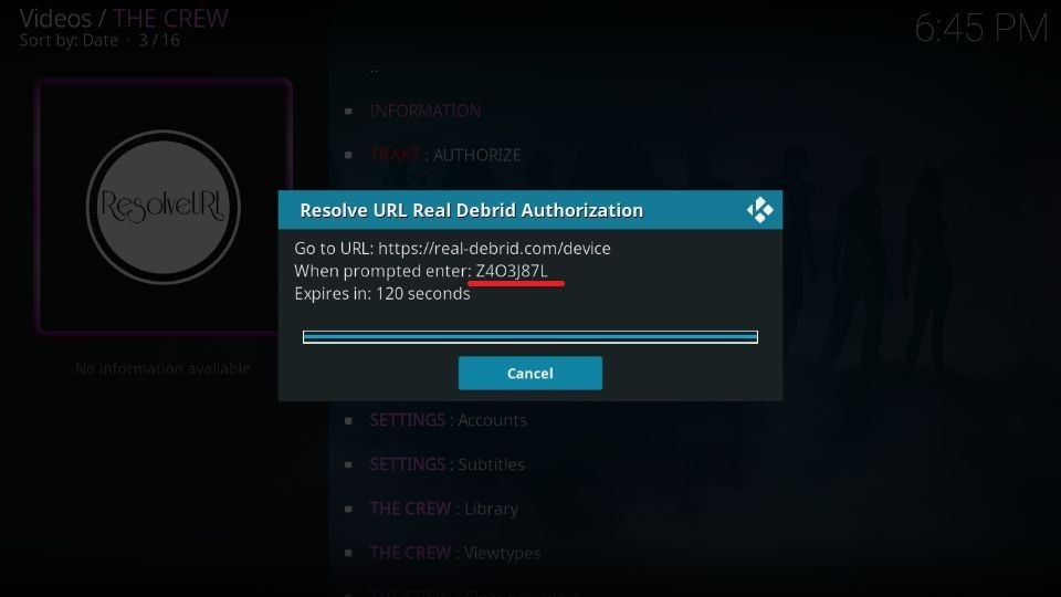 A code will appear on the Kodi screen