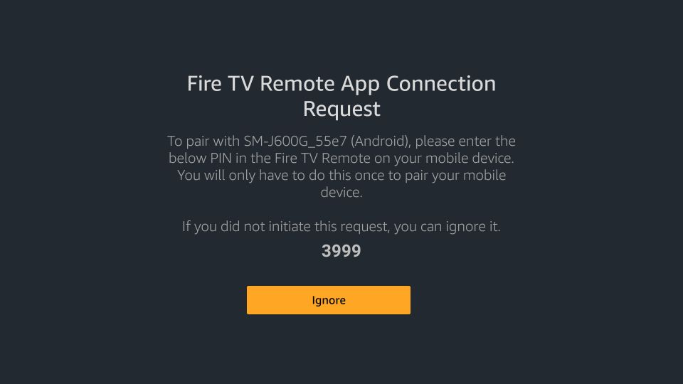 A 4-digit connection request code will appear