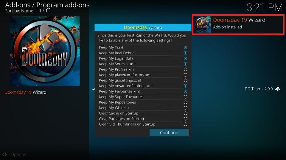 Doomzday 19 Wizard Add-on installed