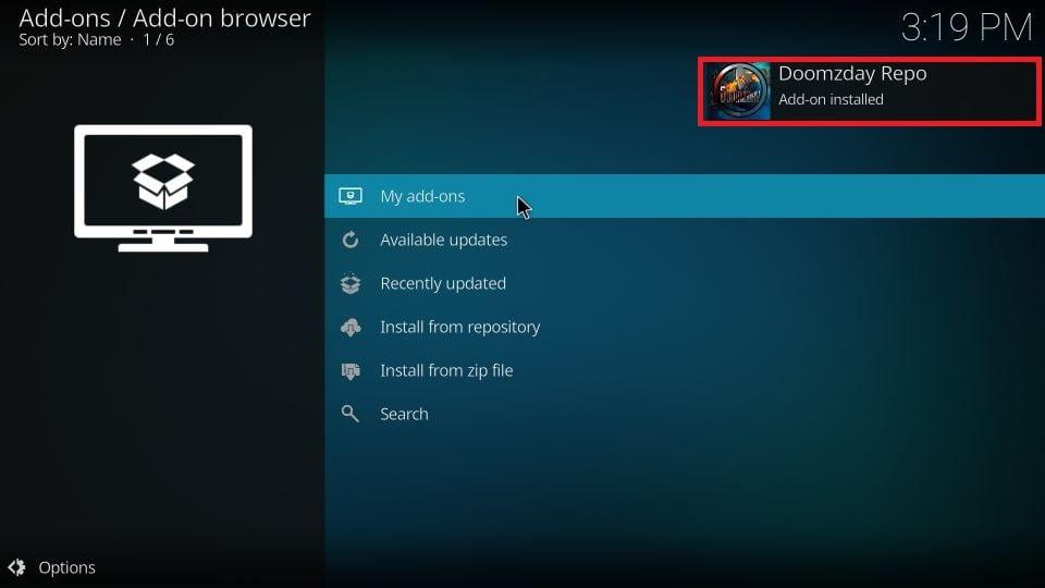 Doomzday Repo add-on installed
