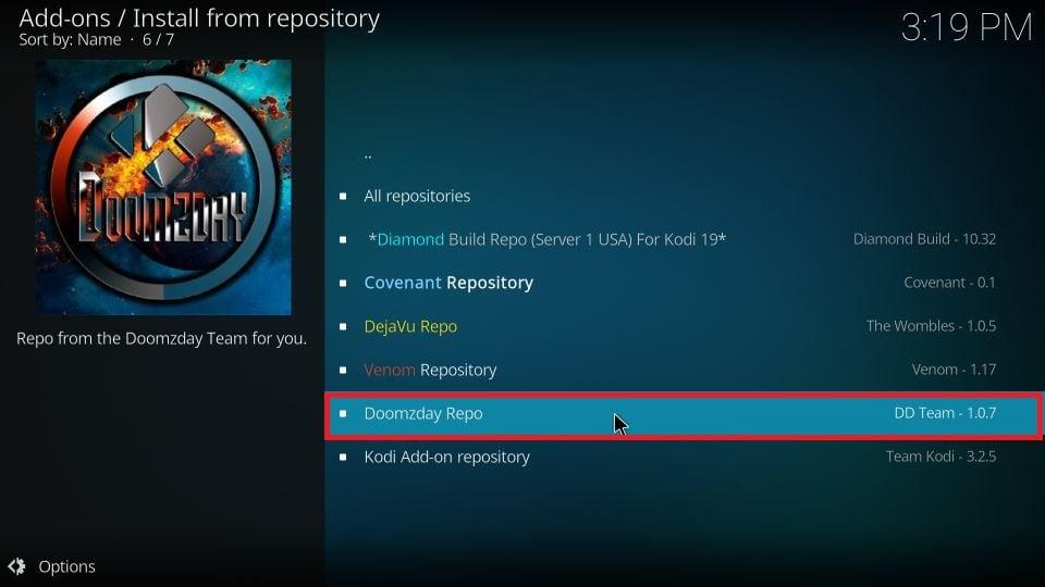download Doomzday build on Kodi
