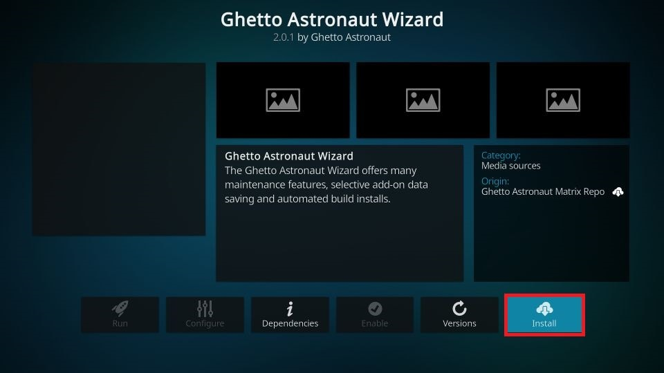 install Ghetto Astronaut build on Kodi 19 Matrix