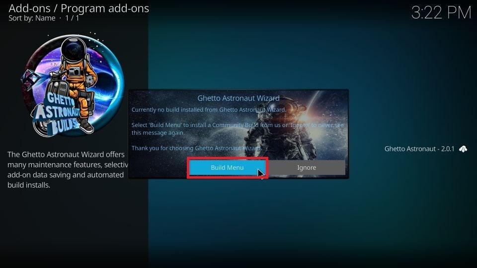 download Ghetto Astronaut build on Kodi