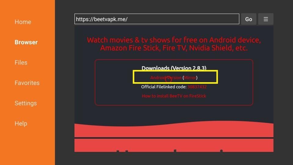 install BeeTV on FireStick