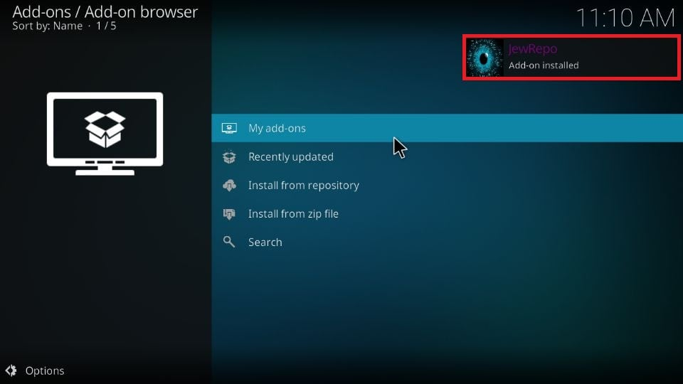 Wait until this repo is successfully installed on Kodi