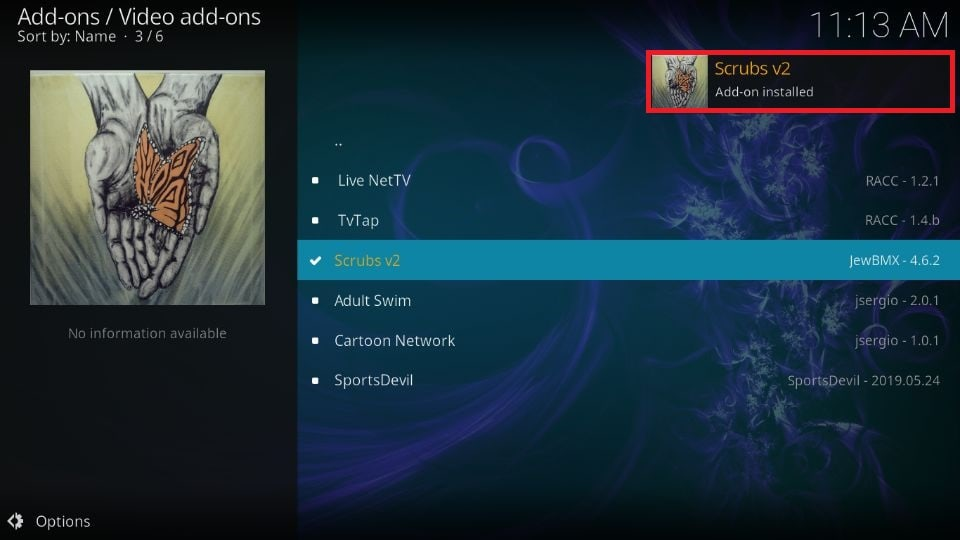 Wait until you see Scrubs v2 Add-on installed confirmation