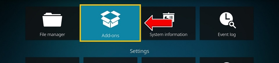 Return to the Kodi Settings screen and this time open the Add-ons folder