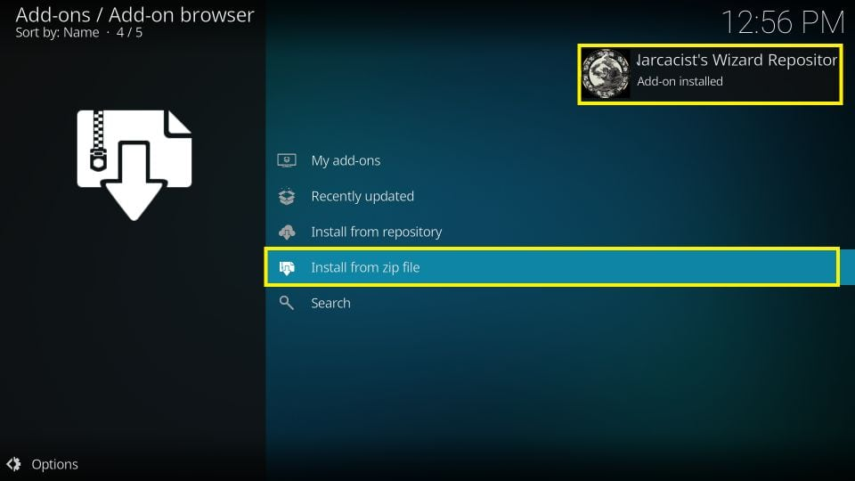 Wait for the notification Repository Installed on the top right corner of the window