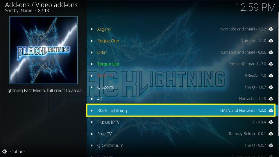 On the next window select Black Lightning