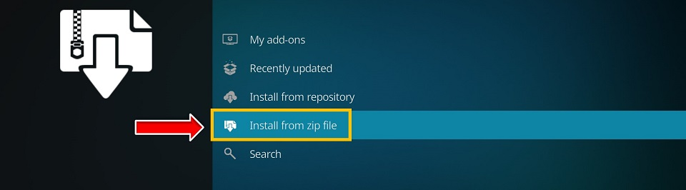 Select Install from zip file on the next window