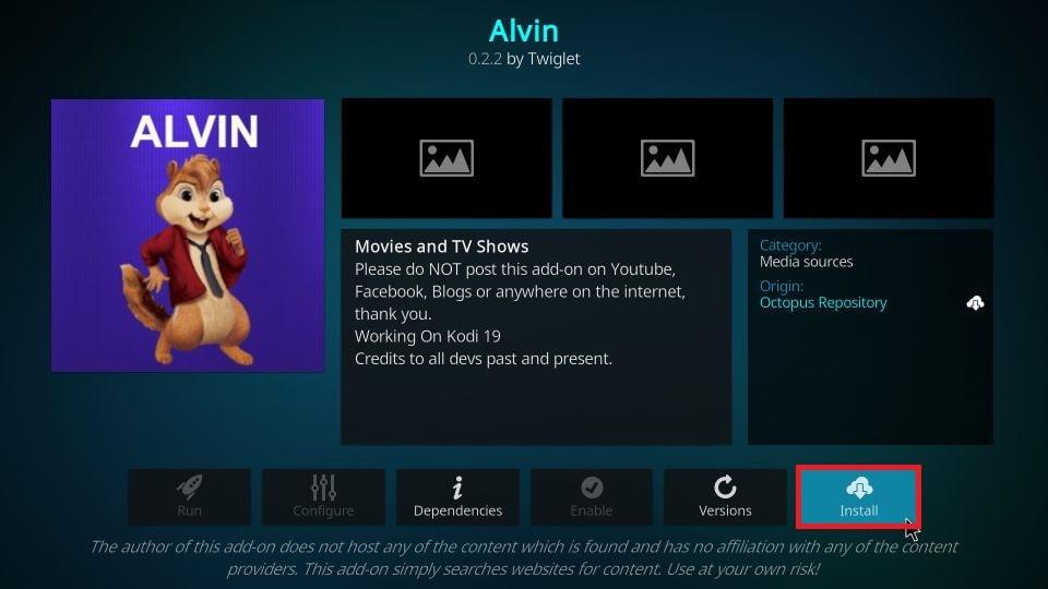 how to get Alvin addon on Kodi