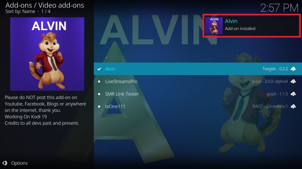 download Alvin addon on Kodi