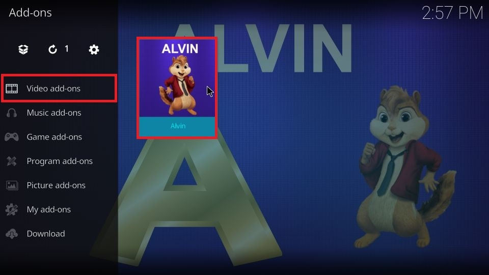 Highlight Video add-ons on the left pane and then click Alvin to launch it