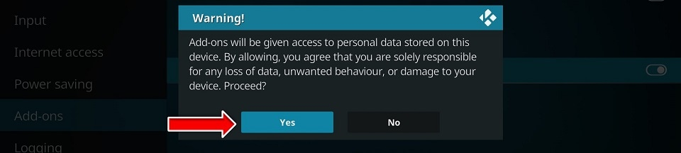 Now, when you click the switch to enable Unknown Sources, you will see the below prompt. Go ahead and click Yes.